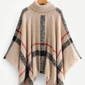 Raw Hem Striped Sweater Poncho